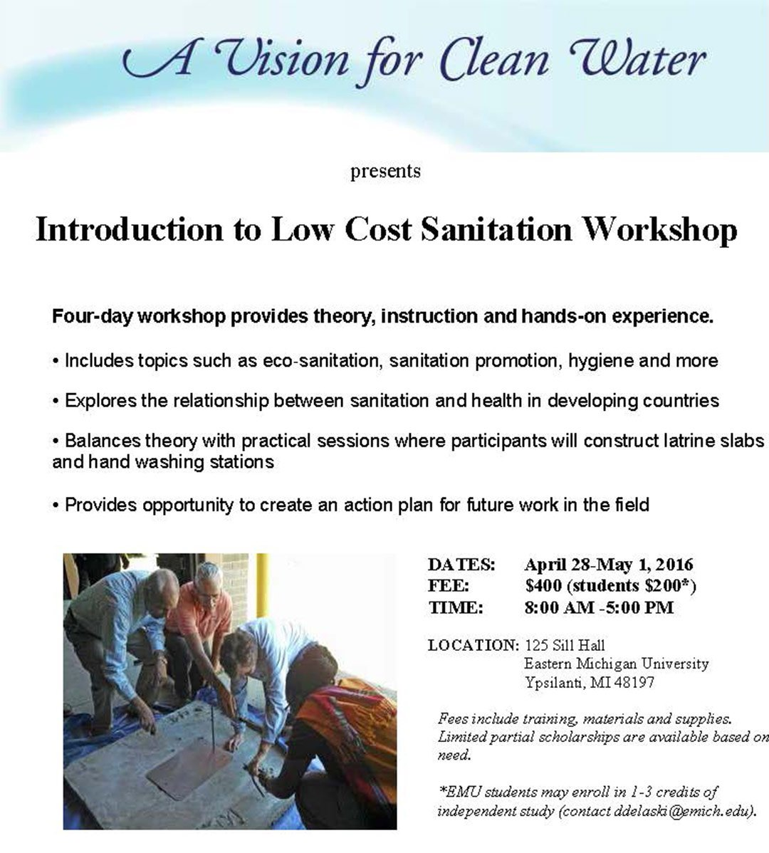 2016 Sanitation Workshop Flyer